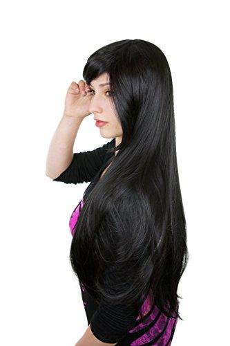 Prettyland Perruque Longue 80cm Noir Lisse Volume Frange Dense Effet Naturel Travesti Manga Femme Vampire C332