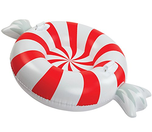 BigMouth Inc. Peppermint Snow Tube - 3 ft. Wide Inflatable Snow Tube with Easy Grip Handles, Made of Durable Vinyl with Welded Seams - Makes a Great Gift