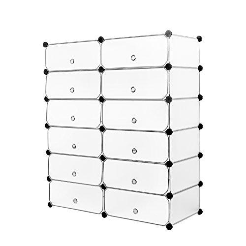 Meerveil Zapatero, Zapatero Modular Portatil Plástico PP 12 Cubos Almacenamiento para Baño Aparador Habitación Salón Garaje 91cm x 36cm x 105cm Blanco