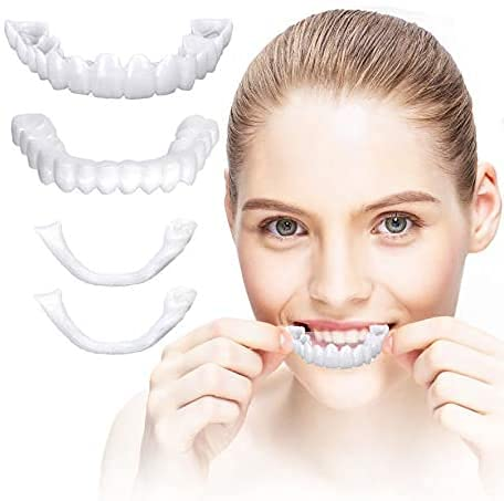 ZHQY Dental Cosméticos carillas, Carillas Dientes Cosméticos Whitening Cosmetic Teeth Covers Snap on Smile Veneer Safe Effective Easy to Use Affordable Teeth Veneers 1 Pair