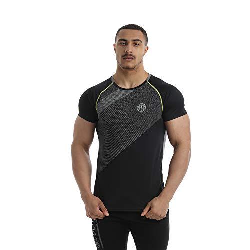 Golds Gym Raglan Performance T-Shirt Manches - Noir/Gris, Medium