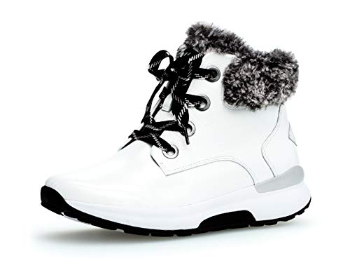 Gabor Damen Stiefelette 36.805, Frauen Plateaustiefeletten,Stiefel,Boots,Halbstiefel,Plateau-Bootie,flach,Weiss (Mel.),40 EU / 6.5 UK