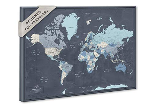 World Map on Canvas with Pins | Personalized World Map Pin Board | Modern Navy Push Pin Map Design | 24' x 32' up to 40' x 53'