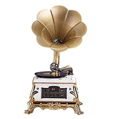 Europäischer Bluetooth-Plattenspieler mit Retro-UKW-Radio, Home-Music-Player mit Fernbedienung, zweikanaligen Stereolautsprechern und LED-Digitalanzeige
