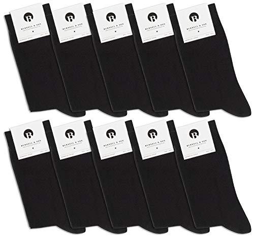 Burnell & Son 10 Paar Premium Business Socken gekämmte Baumwolle bequem ohne drückende Naht, Handgekettelt, Anzug-Socken in Schwarz 39-42