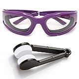 Amaoma Gafas de Cebolla,Cebolla Goggles Gafas Gafas Ligeras para Picar Cebolla, Gafas para el Hogar y Uso en Cocinas, con Cepillos de Limpieza (Púrpura)
