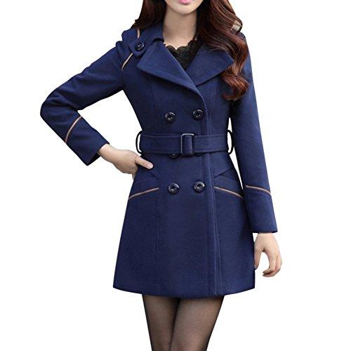 LAEMILIA Damen Winter Mantel Klassischen Doppelten Breasted Trenchcoat Warm Schlank Vintage Jacke Windmantel Outwear (EU34=Tag M, Blau)