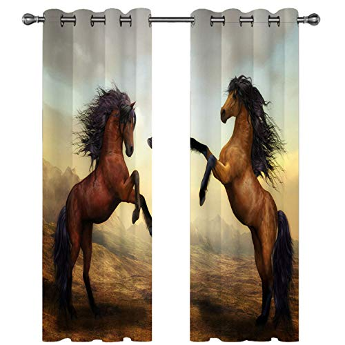 CCBAO 3D Printing Simulation Horse Pattern Curtain Fashionable Personality Home Decoration Curtains Suitable For Garden, Balcony, Bedroom Curtains 2 Pieces