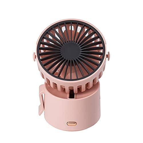 HAIMING Mini Ventilador de Cuello portátil Ventilador inalámbrico USB Recargable Recargable Ventilador 1000mAh Batería refrigerador de Aire Desktop Fan de Mano al Aire Libre (Color : Pink)
