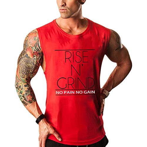 Musgneer(マスリエ) トレーニングウェア 半袖 メンズ スポーツシャツ トップス フィットネスウェア 運動用 筋トレ Tシャツ 大きいサイズ レッド XL