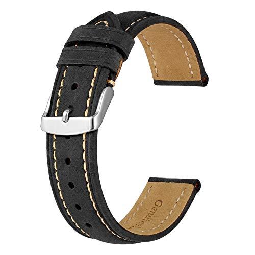 BISONSTRAP Correa de Reloj 18mm, Correa Piel de Cuero Vintage, Negro/Hilo Beige