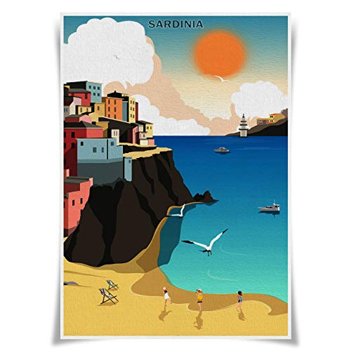 Nice Captain Travel Posters Famous Tourist Sites Prints A3 Size Wall Art Home Decor (Italy Sardinia)