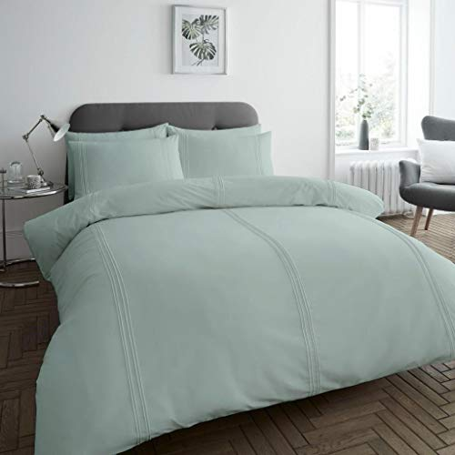 dl Dulwich Pleated Stripe Stripes Duvet Cover Set Bedding Quilt With Pillowcase Single Bed Size, Duck Egg