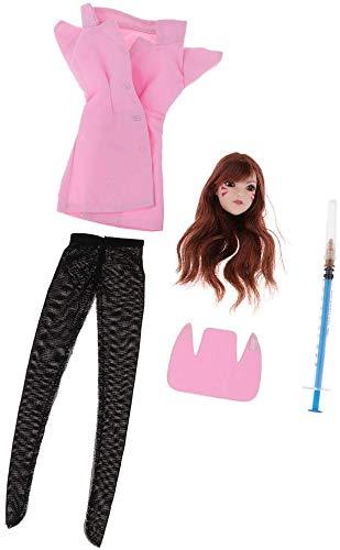 ZSMD 1/6 Dva Head Sculpt + Nurse Costumes + Pantyhose for Hot Toys, Phicen 12 inch Female Figure
