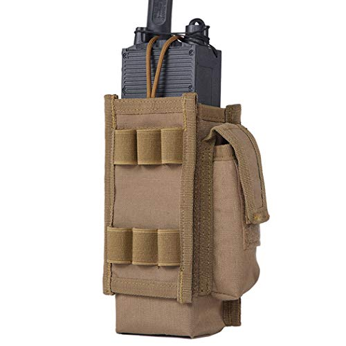 IDOGEAR Tactical Radio Pouch Molle Radio Holder for Walkie Talkies PRC 148/152 Radio Airsoft Military Outdoor Sports 500D Nylon (D:Coyote Brown)