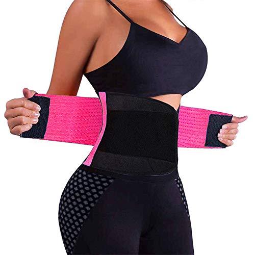 VENUZOR Waist Trainer Belt for Women - Waist Cincher Trimmer - Slimming Body Shaper Belt - Sport Girdle Belt (UP Graded)(Hot Pink,Medium)