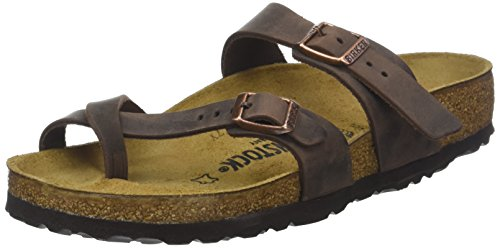 Birkenstock Mayari Greased Leather, Chanclas para Mujer, Marrón (Habana Habana), 37 EU