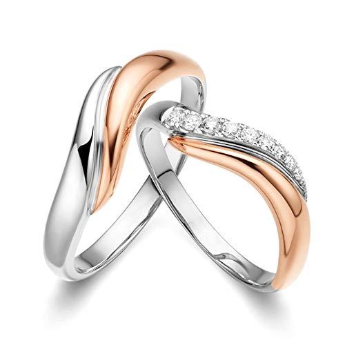 Amody Anello Donna Oro 18K Vero, Anelli Fidanzamento Coppia 4.1MM/4.9MM con 0.15ct Diamante Donna Circonferenza 51MM & Uomo Circonferenza 54MM