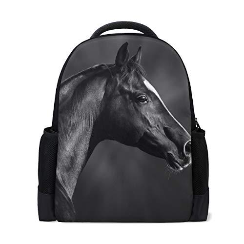 MONTOJ Pretty Black Horse Sac à dos de voyage en polyester pour ordinateur portable