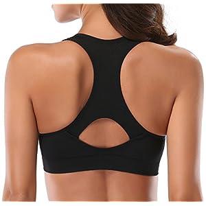 MIRITY Women Racerback Sports Bras - High Impact Workout Gym Activewear Bra Color Black Grey Blue Size S