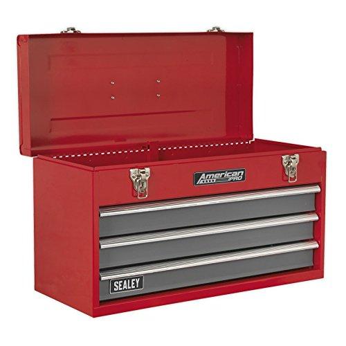 Sealey AP9243BB - Caja de herramientas portátil (incluye 3 cajones con rodamientos de bolas), color rojo y gris
