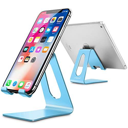 LORERAN Soporte Móvil, Soporte Dock Base para Teléfono e Smartphones para Phone XS XS MAX XR X 8 7 6 Plus 5 4, Nintendo Switch, Samsung S8 S7, Huawei, Otras Smartphones (Blue)