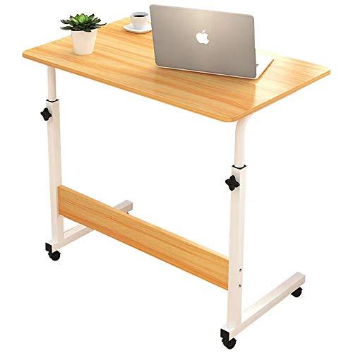 Plasaig Mesa de escritorio de 60 x 40 cm de altura ajustable, mesa de pie móvil, mesa auxiliar portátil, escritorio con ruedas para sofá cama (roble)