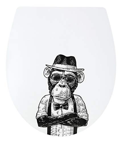SITZPLATZ® WC-Sitz mit Absenkautomatik, lustiges Dekor Stadtaffe, abnehmbar, antibakterieller Duroplast Toilettendeckel, Top-Fix Befestigung von oben, Standard O Form, Toilettensitz witzig, 40696 3