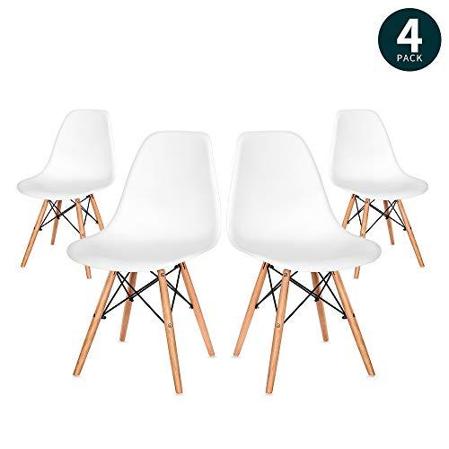 VADIM Esszimmerstuhl 4er Set in Weißem Retro Design, In nur 4 Schritten Montiert, Esszimmerstühle mit Massivholzbeinen, Moderner Kunsthof Wohnzimmerstühle, Küchenstühle, Holz, Weiß