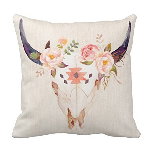 Cabeza de toro calavera flores acuarela ilustración funda de almohada 18pulgadas