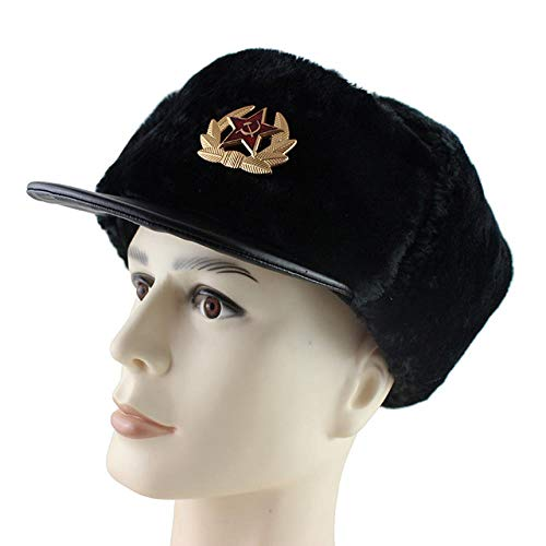 AdronQ Sowjetische Armee Militär Abzeichen Russland Uschanka Bomber Hut PU Catcher Kavallerie Hut Winter Ohrenschützer Männer Schneekappe