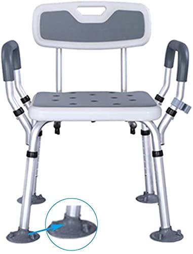 XQMY Silla de Ducha Asiento de baño/Banco de Asiento de Taburete de Ducha Ajustable/con Brazos y Respaldo de Altura Ajustable/para discapacitados, Personas Mayores, bariátrico