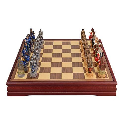 Ajedrez Juego de ajedrez de Lujo Piezas de ajedrez de Resina de Resina MDF Tablero de ajedrez Retro Driso de Escritorio Entretenimiento Juegos de ajedrez Regalo ajedrez magnetico
