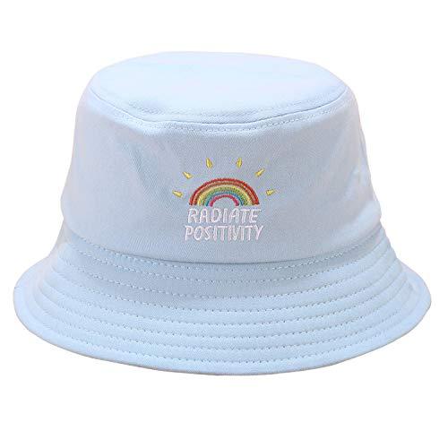 Umeepar - Sombrero tipo pescador bordado 100 % algodón para la playa y el sol. Para mujer y hombre - Azul - Talla única