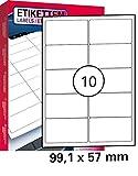 25 Blatt Drucker Universal Etiketten 99,1 x 57,0 mm Namensschild Selbstklebend DIN A4 (250 St. Etiketten) Adressetiketten Laser Copy Inkjet Hinweisschilder