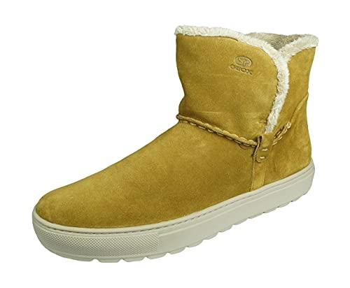 Geox Damen Winterstiefel BREEDA, Frauen Stiefel,Winter-Boots,Fellboots,Fellstiefel,gefüttert,warm,CURRY,40 EU / 7 UK