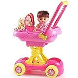 QiHaoHeji Cochecito De Muñeca Biplaza Muñeca Cochecito de Juguete Chica de Juegos for niños bebé Casa de Simulación de la Carretilla Grande (Color : Pink, Size : 36X52X24CM)