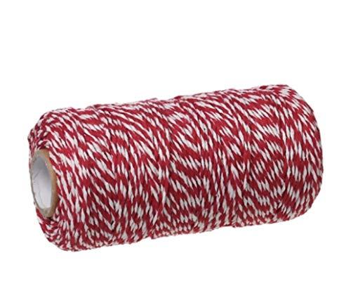 Handarbeit-Lieblingsladen Baumwollschnur Kordel rot-weiß gestreift 1,5mm ca. 92 Meter Kordel Paketschnur Paketband Schnur (1m/0,08€)