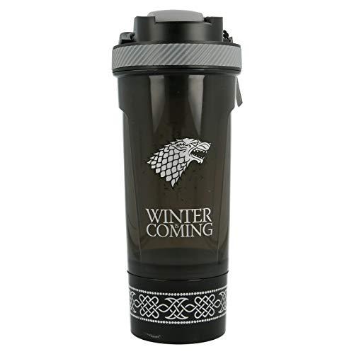 JUEGO DE TRONOS (GOT) - STARK | Shaker con compartimento para los polvos | Botella mezcladora con tamiz para batidos de proteínas y BCAA - sin BPA - 850 ML - a prueba de fugas - Incluye bola