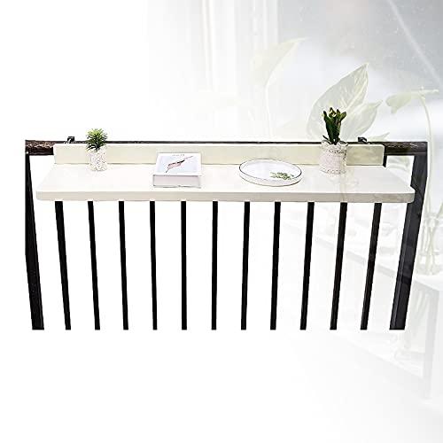 HRTX Tavolo Pensile Balcone Patio, Tavolino Ringhiera Pieghevole in Lega di Alluminio, Pensile Balcone Scrivania Regolabile all'aperto Giardino,80cm