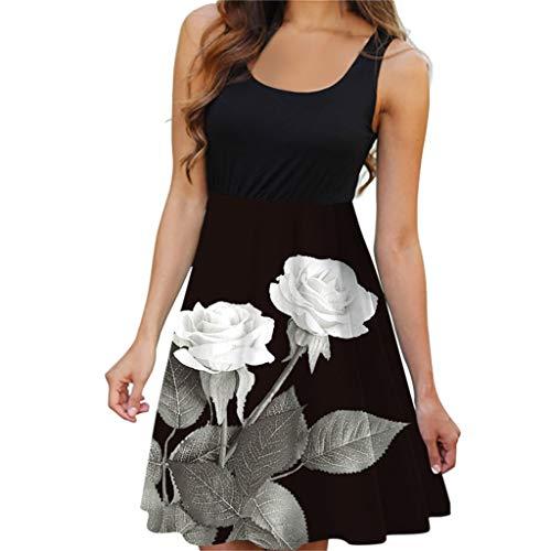 Shinehua Dames zomer mouwloze jurk strandjurk zomerjurk dragerjurk tank jurk print swing A-lijn jurken mini jurk elegante cocktailjurk feestjurk