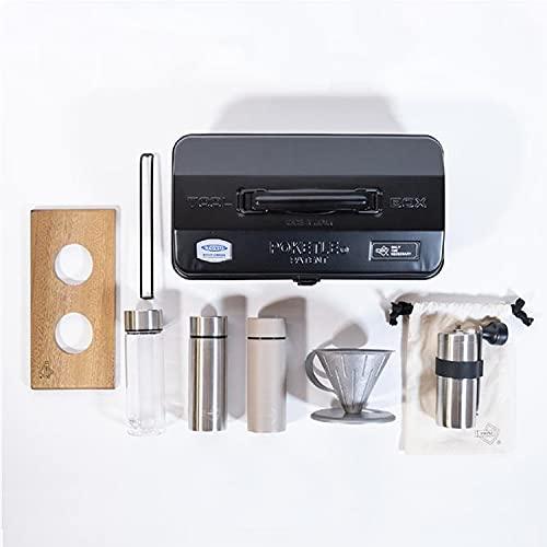 ポケトル×東洋スチール POKETLE COFFEE KIT コーヒー キット コーヒードリッパーセット ミニボトル コーヒーミル 燕三条 アウトドア (ブラック)