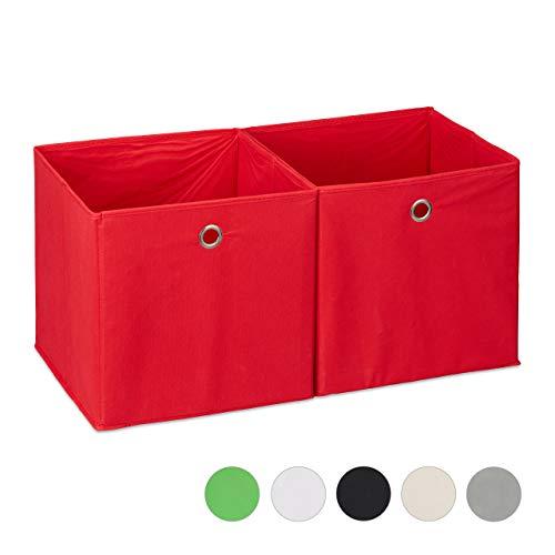 Relaxdays, Rosso Set da 2 Cestini Porta-Oggetti, Quadrati, per Lo Scaffale, Scatole a Forma di Cubo, 30x30x30 cm, Poliestere, Cartone, 30 x 30 x 30 cm