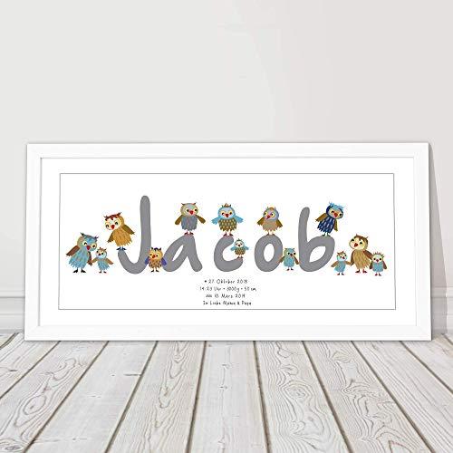Babygeschenk personalisiert, Taufgeschenk Junge, Mädchen, Geburtsgeschenk, Patengeschenk, 1. Geburtstag, Namensbild