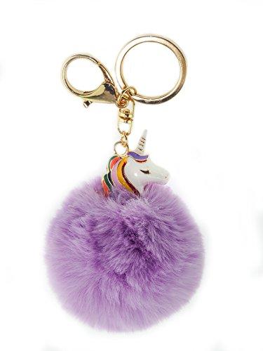 Einhorn Unicorn Plüsch Schlüsselanhänger Charme Anhänger für Schlüsselbund Kfz Handtaschen, PomPom, keychain (Lila)