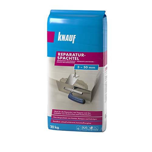 Knauf Reparatur-Spachtel, Ausgleichs-Masse, 20-kg – Spachtel-Masse, Ausgleichs-Spachtel, schnell erhärtend, spannungsarm, frostsicher und für 3-mm bis 50-mm Schichtdicken, zementgrau