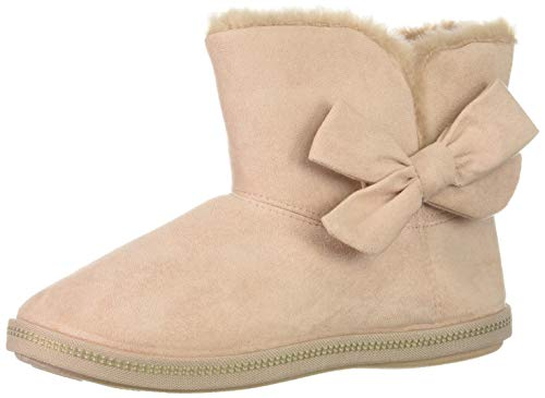 Skechers Women's Cozy Campfire-Microfiber Slipper Boot with Bow, Light Pink, 11 M US