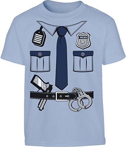 Kids Polizei Kostüm Junge Uniform Verkleidung Kleinkind Kinder T-Shirt 116 Hellblau