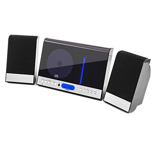 oneConcept Vertical 90 Black Edition - Equipo de música estéreo, Minicadena con Reproductor de CD, Compatible con MP3, Radio FM, Display LCD, Puerto USB, AUX, Control Remoto, Diseño Vertical, Negro