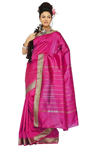 Sanskruti India Womens Indian Ethnic Traditional Banarasi Art Silk Saree Sari Wrap Fabric Dress Drape (Dark Pink)